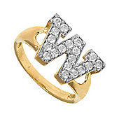 Jewelco London 9ct Gold Ladies' Identity ID Initial CZ Ring, Letter W - Size K