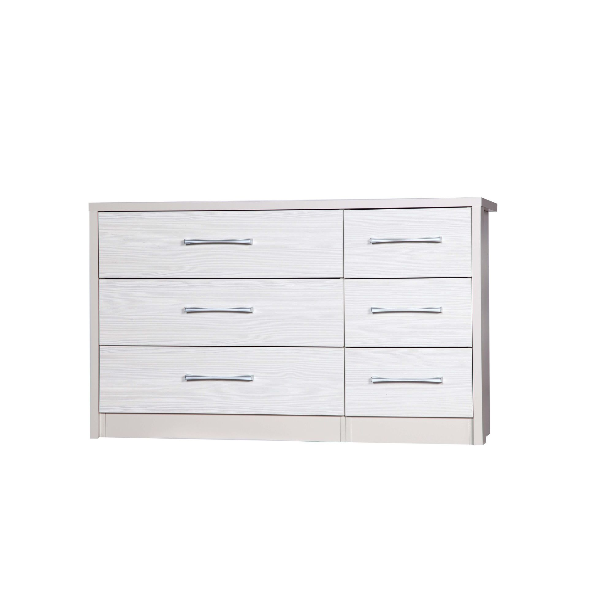 Alto Furniture Avola 6 Drawer Double Chest - Cream Carcass With White Avola at Tesco Direct