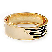 Gold Plated 'Zebra Print' Hinged Bangle Bracelet