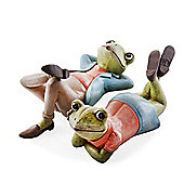 Fred & Freda the Set of Two Relaxing Frog Home or Garden Ornaments