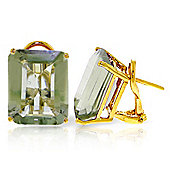 QP Jewellers 13.0ct Green Amethyst Auroral Stud Earrings in 14K Gold