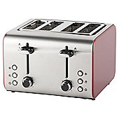 Tesco 4 Slice Toaster - Red & Stainless Steel