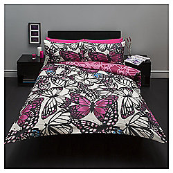 Large Scale Butterfly Print Single Duvet Set, Pink/Purple