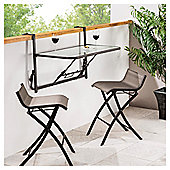 Roma 3-piece Balcony Bistro Set, Mocha & Black