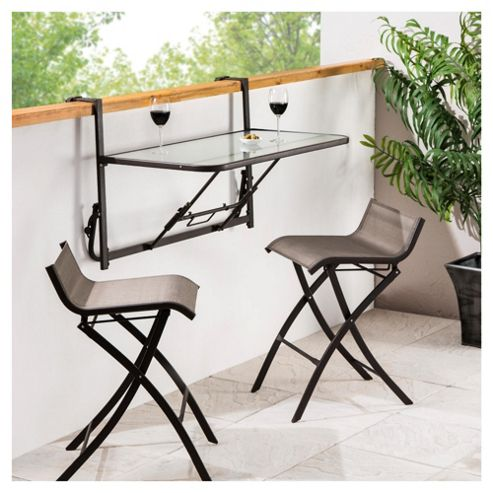 Roma 3 Piece Balcony Bistro Set, Mocha & Black