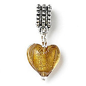 Gold Glass Hanging Heart Slide On Bead