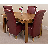 Cotswold Rustic Solid Oak Extending 132 - 198 cm Dining Table with 4 Burgundy Montana Leather Chairs