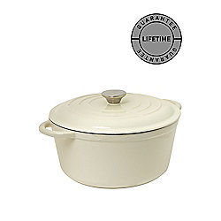 Linea Cream Cast Iron Round Casserole, 25.5cm In Cream New