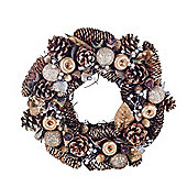 Large Gold Finish Pine Cone Christmas Wreath