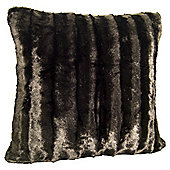 Shiny Faux Fur Cushion, Chocolate