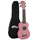 Tiger Pink Beginner Soprano Ukulele & Bag