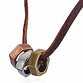 Urban Male Genuine Brown Leather Strand Necklace with Three Colour Nut Pendants