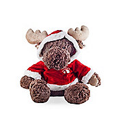 Large Sitting Moose Plush Soft Toy in Red & White Hooded Jumper