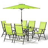 8 Piece Santorini Garden Patio Set - 100% Aluminium NON RUST FRAME - Green
