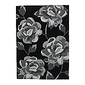 Think Rugs Hong Kong Black/Grey Tufted Rug - 80 cm x 150 cm (2 ft 7 in x 4 ft 11 in)