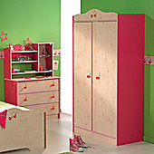 Parisot Miss Griotte Two Door Wardrobe in White Stained Pine / Raspberry