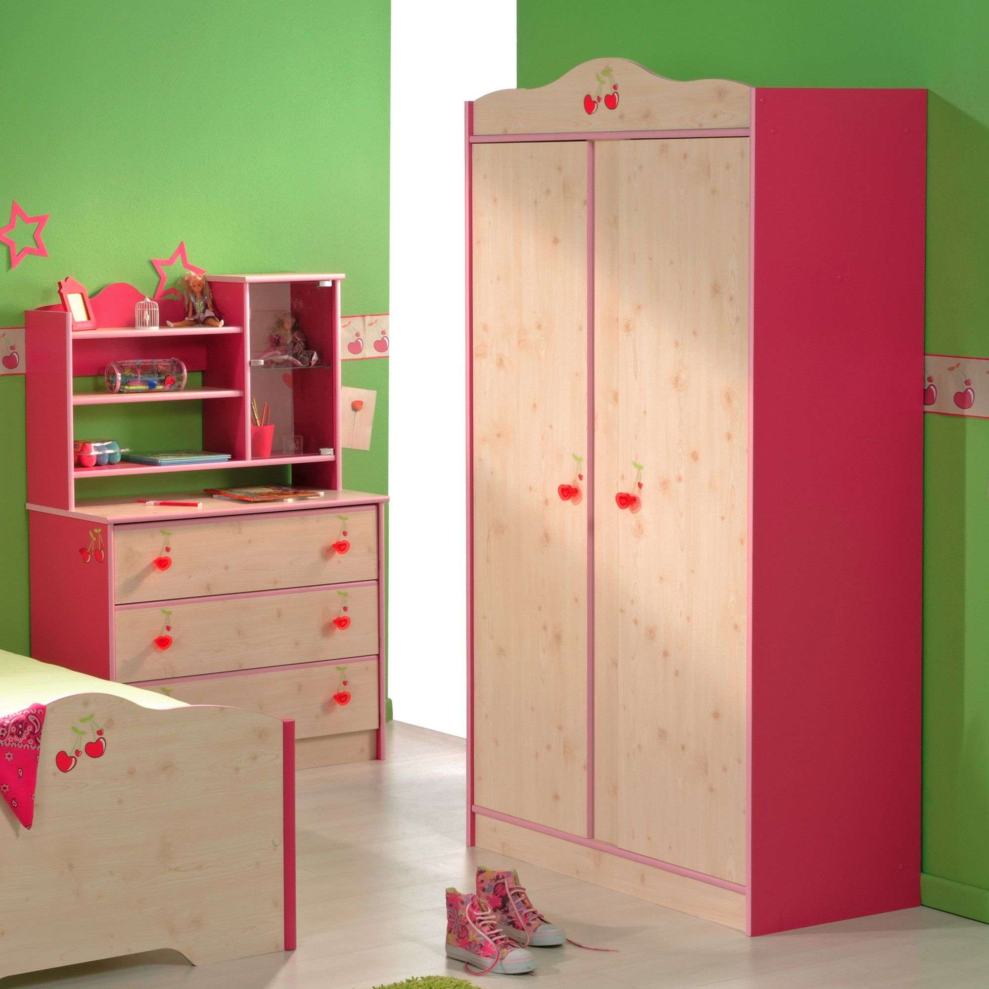 Parisot Miss Griotte Two Door Wardrobe in White Stained Pine / Raspberry at Tesco Direct