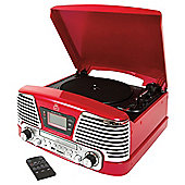 GPO Memphis Turntable with FM Radio and CD Red