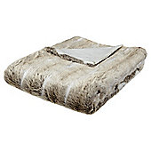 Light Natural Faux Fur Throw