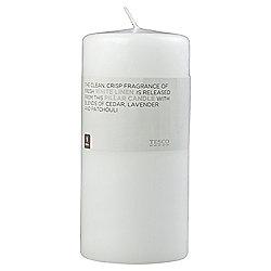 Tesco White Linen Pillar Candle