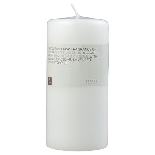 Tesco White Linen Pillar Candle 170X80