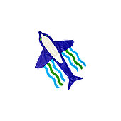Sea Creatures - Dolphin Kite 180cm long with 130cm wingspan
