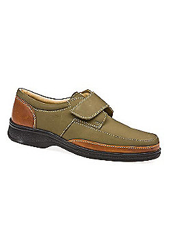 Pavers Touch Fasten Leather Shoe with Wide Strap Brown Suede - 10 - Green