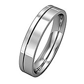 18ct White Gold - 4mm Essential Flat-Court with Fine Groove Band Commitment / Wedding Ring -