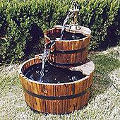 Solid Wood Garden 2 Tier Fountain - Burntwood