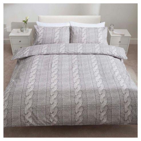 buy tesco brushed cotton knit duvet king from our king. Black Bedroom Furniture Sets. Home Design Ideas