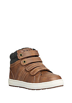 F&F Borg Lined High Top Trainers - Tan