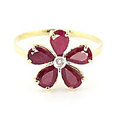 QP Jewellers Diamond & Ruby Foliole Ring in 14K Gold