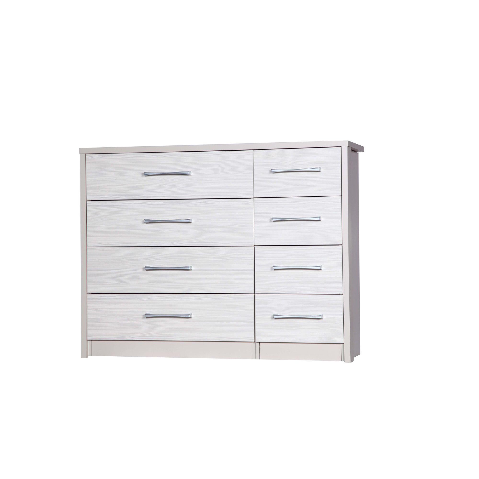 Alto Furniture Avola 8 Drawer Double Chest - Cream Carcass With White Avola at Tesco Direct