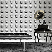 Muriva Large Cubes Wallpaper - Grey