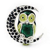 Green Enamel Crystal 'Owl On The Moon' Brooch In Silver Plated Metal