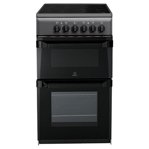 Indesit IT50C(A)S Anthricite Electric Cooker, Twin Cavity, Single Oven