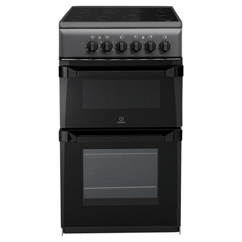 Indesit IT50CAS, Freestanding, Electric Cooker, 50cm, Anthricite, Twin Cavity, Single Oven
