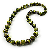 Animal Print Wooden Bead Necklace (Grass Green & Black)