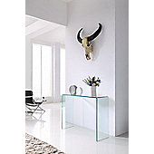 Crystal Large Bent Glass Console Table