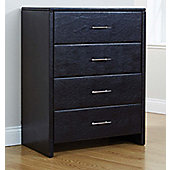 Valufurniture Palma Faux Leather 4 Drawer Chest - Black