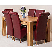 Kuba Chunky Solid Oak 180 cm Dining Table with 6 Burgundy Montana Leather Chairs