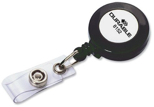 Durable Badge Reel for Punched Clip Holes 800mm Charcoal Ref 8152 [Pack 10]