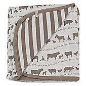 Pigeon Organics Reversible Blanket, Farmyard Print (Taupe)