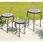 Suntime Theodora Set of 3 Mosaic Plant Stands