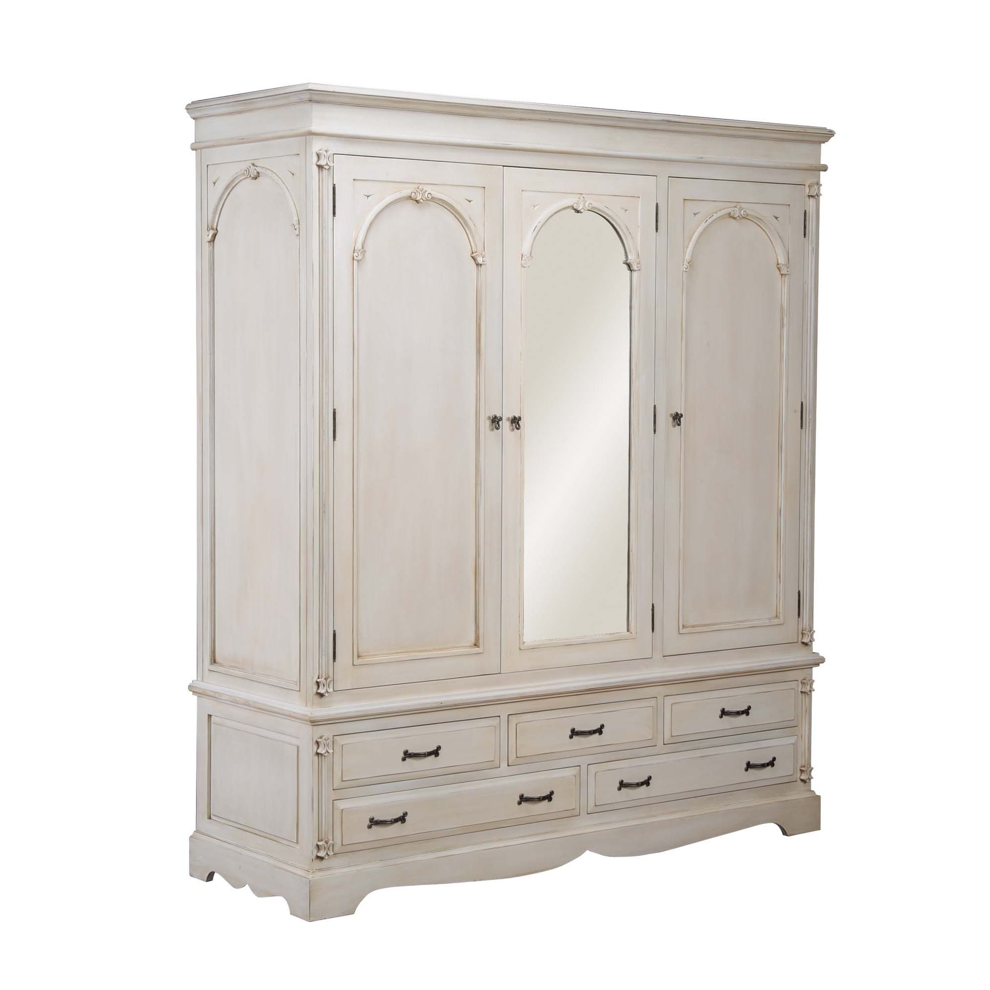 Thorndon Beverley Distressed Triple Wardrobe in Distressed Ivory at Tesco Direct