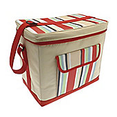 Country Club Jumbo Cooler Bag, Cream & Multi Stripe, Red 36x22x32cm