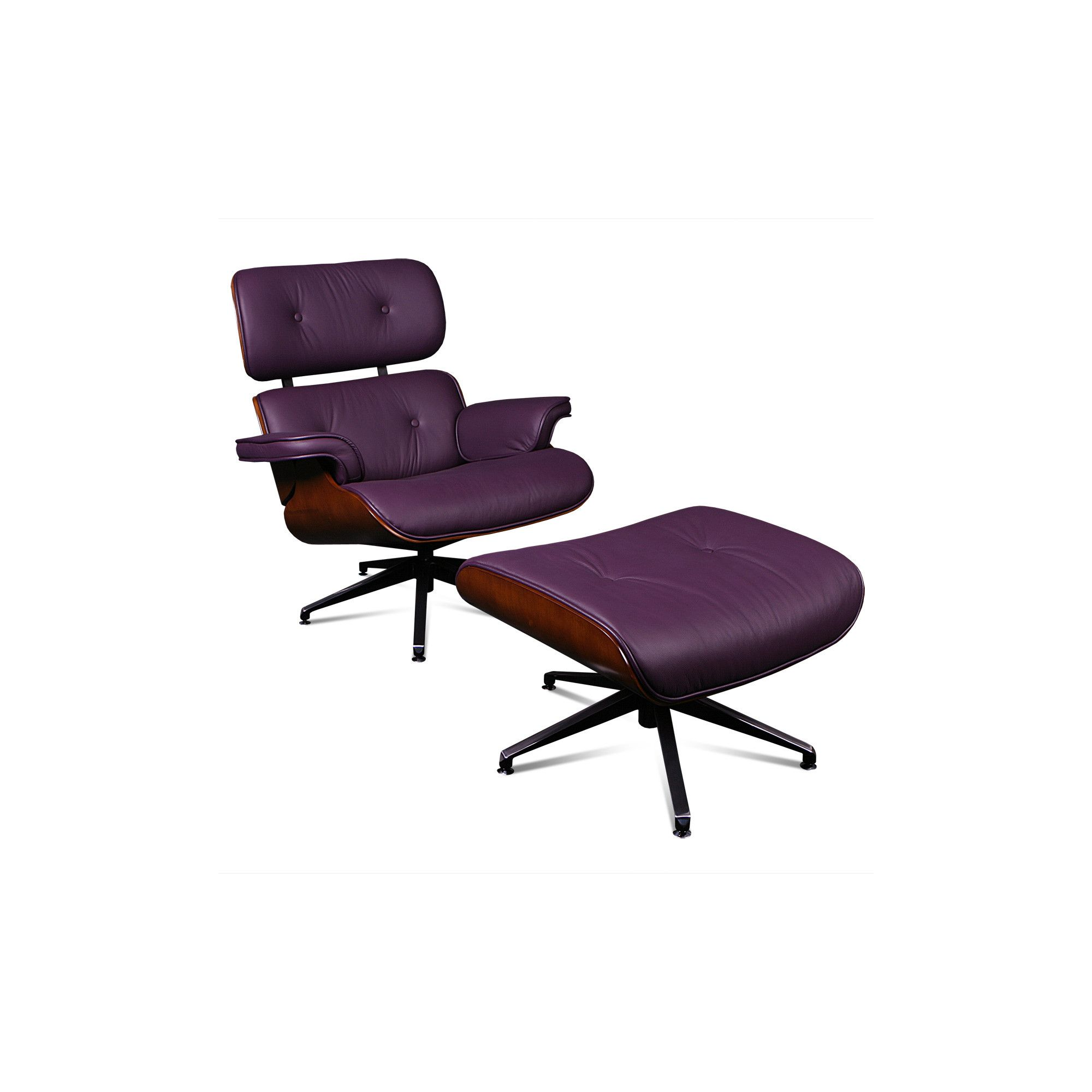 ProMech Racing Classic Leather Lounge Chair and Ottoman - Plum