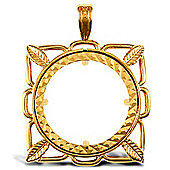 Jewelco London 9ct Solid Gold casted full-size square design Sovereign coin pendant mount