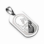 Urban Male Skull Dog Tag Pendant For Men In Stainless Steel