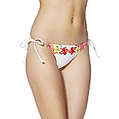 F&F Embellished Tropical Floral Print Side Tie Bikini Briefs - White